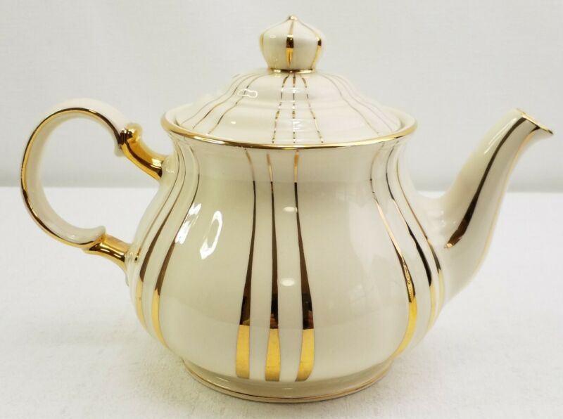 Sadler Made in England Ivory and Gold Striped Porcelain Teapot 2737 Exc Cond