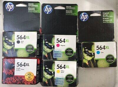 5- Genuine HP 564XL BLACK,YELLOW 564 PHOTO,CYAN,MAGENTA, Ink Cartridge 2016-2020 Tri Colour Photo