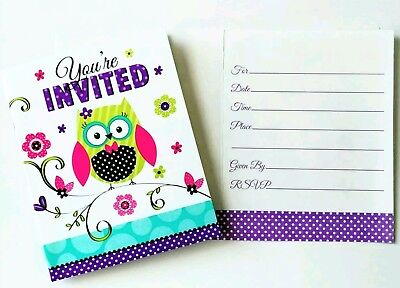 8 BIRTHDAY OR BABY SHOWER GIRL OWL INVITATIONS INVITES ~ PARTY SUPPLIES - Owl Birthday Party