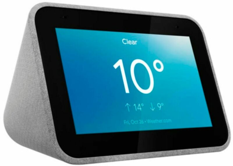 Lenovo - Smart Clock with Google Assistant - Grey