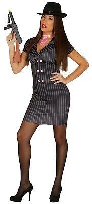 Ladies Sexy 1920s Black Pink Gangster Moll Fancy Dress Costume Outfit - Gangster Moll Kleid Kostüm