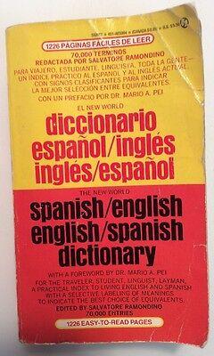 New World Spanish English Dictionary  Softback 1991 Mario A Pei Preownedbook Com