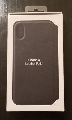 Apple OEM iPhone X Leather Folio Case Retail Packaging - Black