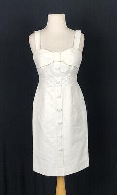 EUC KATE SPADE white Bow Button Down Sleeveless Cotton Pencil Dress Size 2