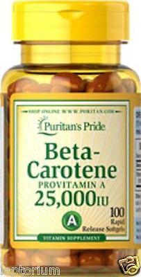 Beta-carotene 25,000iu ( Provitamin A ) X100 Softgels Puritans Pride Premium