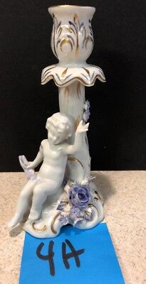 ANTIQUE Dresden PORCELAIN ANGEL/CHERUB CANDLE HOLDer Capodimonte Blue Gold Rose