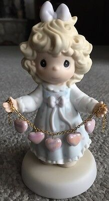 Valentines Precious Moments Pink Hearts On Chain Girl Porcelain Figurine 1996