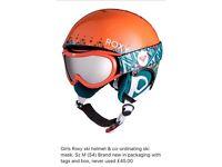 Girls Roxy ski helmet and co-ordinating ski mask set Sz M (54) Brand New in original packaging