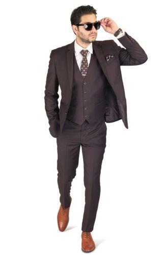 Dark Brown Slim Fit Suit Tuxedo 2 Button Notch lapel Vest Optional Fitted AZAR