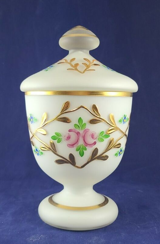Vintage White Satin Glass Charleton Lidded Compote