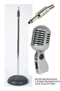 Vintage 'ELVIS' Retro Style Microphone and Matching Microphone Stand + 6m lead