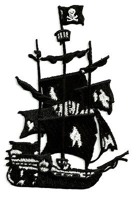 Pirate Ship - Ghost Ship - Embroidered Iron On Applique Patch - Crafts Pirate Ship Applique
