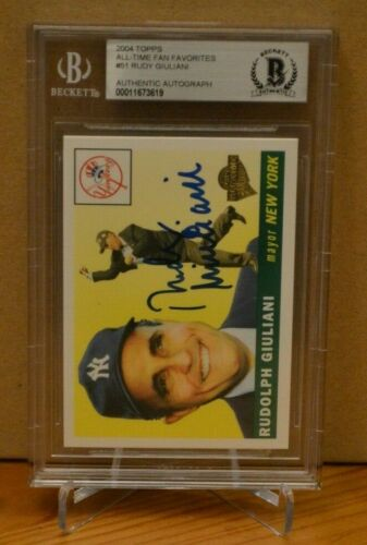 Rudy Giuliani Auto Signed 2004 Topps All-Time Fan Favorites Beckett Authentic