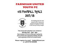FOOTBALL TRIALS - U15's 2017/18