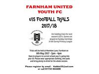 FOOTBALL PLAYERS WANTED U15 2017/18