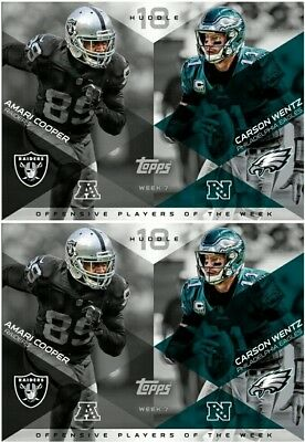 2x PLAYERS OF THE WEEK AMARI COOPER / CARSON WENTZ Topps Huddle Digital Card