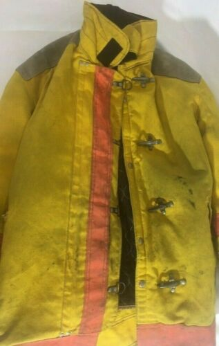 Vintage Janesville Lion Firefighter Yellow Turnout Jacket Gear w/ Liner