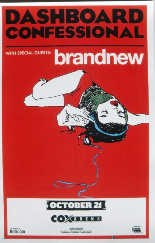 DASHBOARD CONFESSIONAL / BRANDNEW 2009 SAN DIEGO CONCERT TOUR POSTER - Emo Music