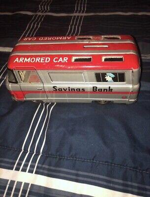 VINTAGE 1960S HAYASHI TIN FRICTION TOY ARMORED CAR SAVINGS BANK Toy Armored Car Savings Bank