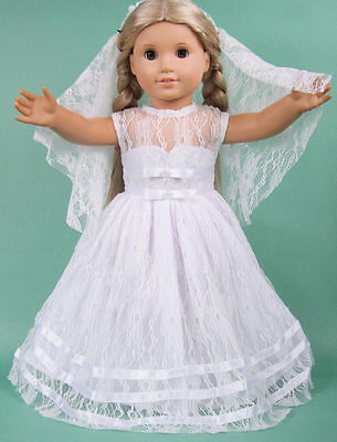 """US SELLER! First Communion White Dress fits 18"""" American Girl Dolls, Style 5B1"""