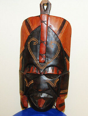 "AFRICAN WOODEN CARVED PAINTED MASK about 9.5""  FREE SHIPPING"