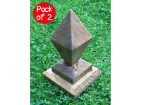Pack of 2 high quality, ornate & stylish ready-made diamond wooden post caps / finials