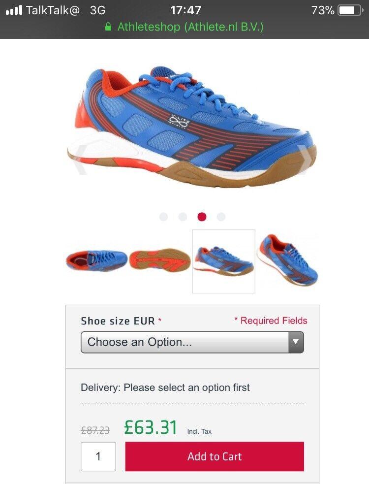 Hi-Tec Infinity Indoor Blue Orange shoes badminton/tennis/squash size uk 9