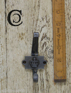 5-x-CAST-ANTIQUE-IRON-HAT-COAT-HOOK-2-Part-Crown-Vintage-Repro