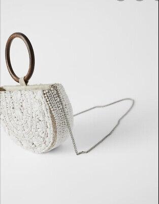 Zara White Beaded Bag