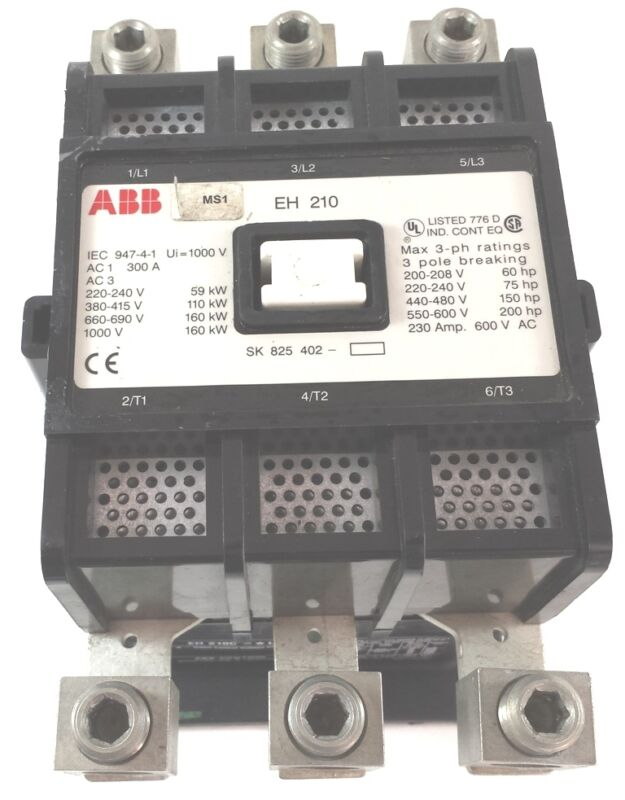 used ABB EH 210C-120L 600V 230A 120V 3P RELAY 2N.O 2N.C  MOTOR STARTER CONTACTOR
