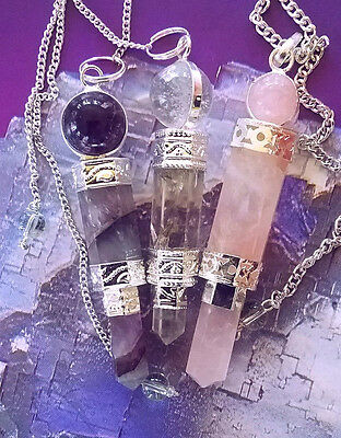 3 MAGIC TRINITY DOWSING PENDULUMS, AMETHYST, ROSE AND CRYSTAL QUARTZ WAND