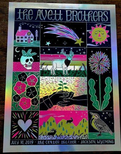 RARE Avett Brothers 2019 JACKSON WY RAINBOW FOIL AP Signed S/N #/10 Poster Print