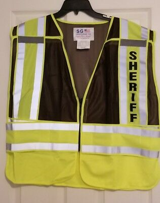 Sheriff Reflective Traffic Safety Vest Ansi Isea 207-2006 Hi Visibility 2xl-4xl