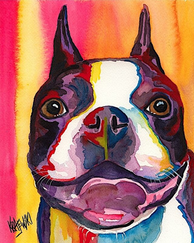 Boston Terrier Art Print from Painting | Gifts, Poster, Picture, Home Decor 8x10