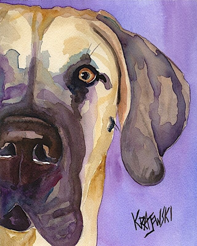 Great Dane Art Print From Painting | Fawn Gifts, Poster, Picture, Wall Art, 8x10
