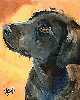 Labrador Retriever 11x14 signed art PRINT RJK painting Black -