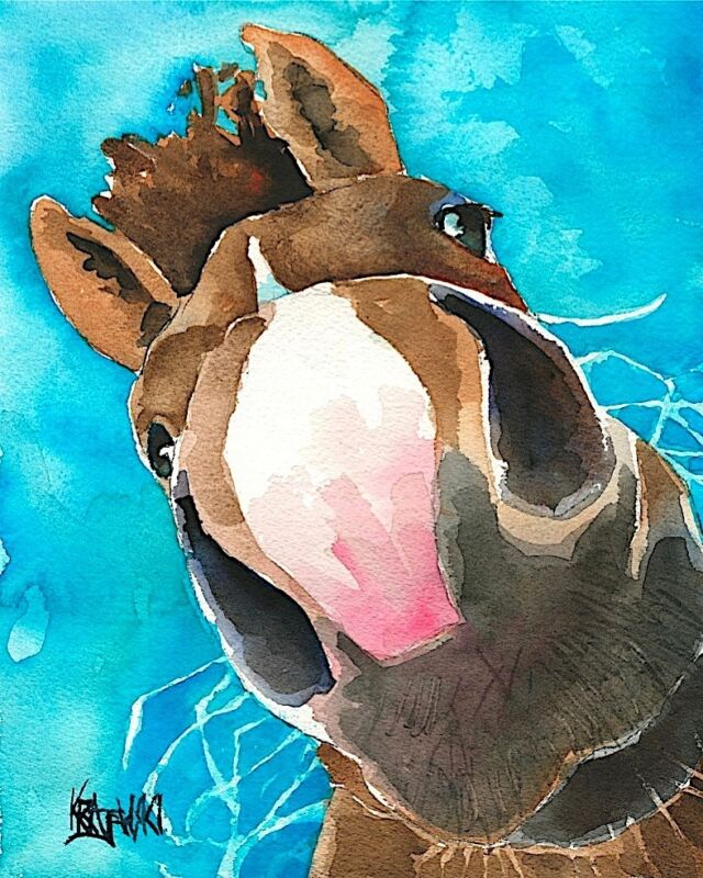 Nosey Horse Art Print Signed by Artist Ron Krajewski Painting 8x10