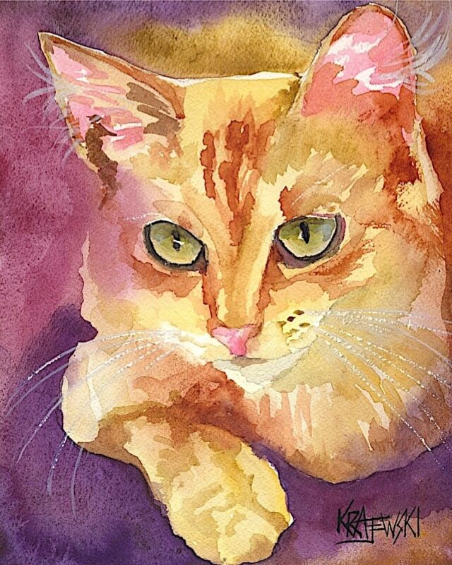 Tabby Cat Art Print from Painting | Cat Gifts | Poster Picture, Mom, Dad 8x10