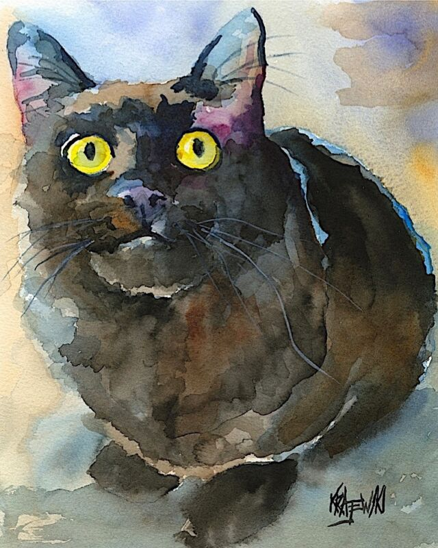 Black Cat Art Print from Painting | Cat Gifts | Poster, Print, Mom, Dad 8x10
