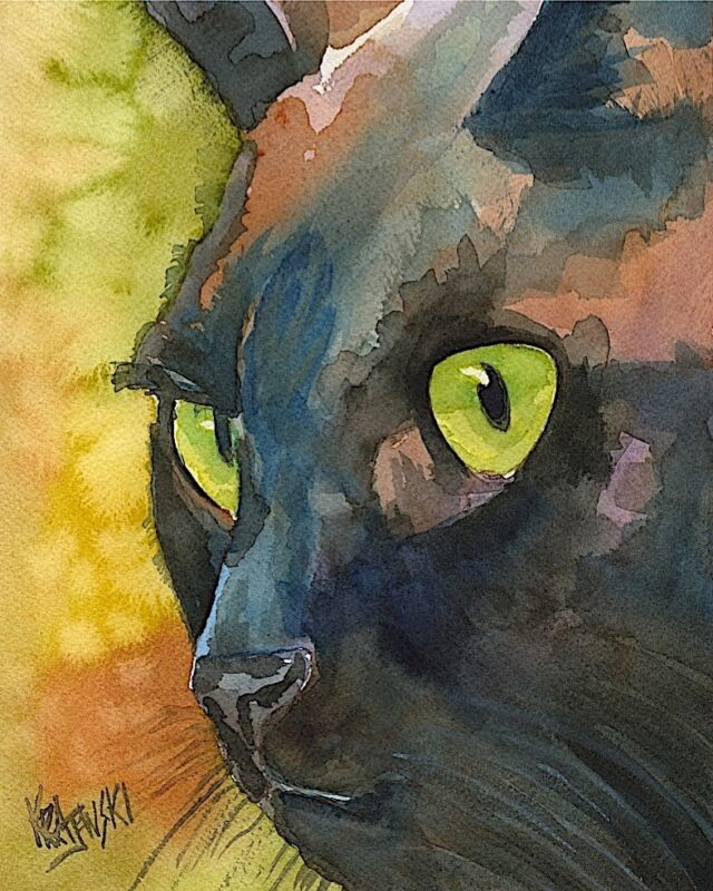 Black Cat Art Print from Painting | Cat Gifts | Poster, Print, Home Decor 8x10