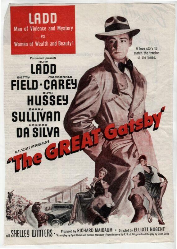 Vintage The Great Gatsby 1949 Alan Ladd Betty Field Movie Magazine AD