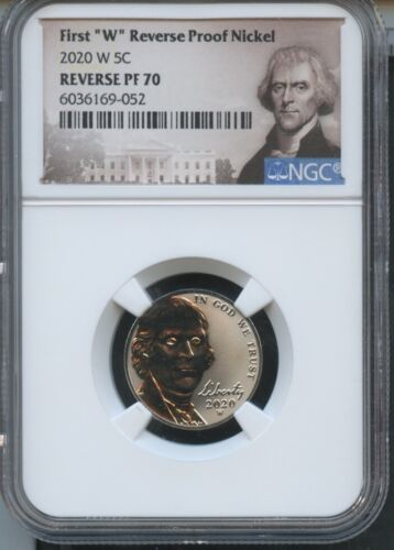 "2020 W First ""W"" Reverse Proof Nickel NGC PF70 Portrait Label"