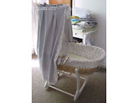 Moses basket with hand made canopy