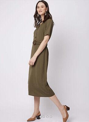 George Bnwt Khaki Belted Midi Shirt Dress Size 20