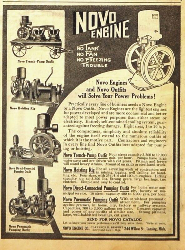 1912 Novo Engine Ad/ Pneumatic Pumping/Trench Pumping/ Lansing MI