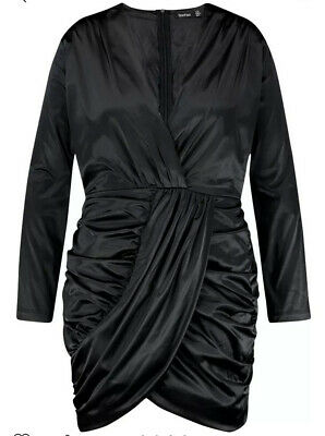 BooHoo Plus Draped Wrap Satin Dress Black Size US 14 NWT