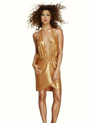 Ladies 70's Disco Diva fancy dress costume Womens 12 14 Gold Party Dress