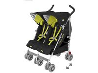 Maclaran double pushchair black and lime