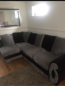BLACK & GREY SOFA VELVET FREE