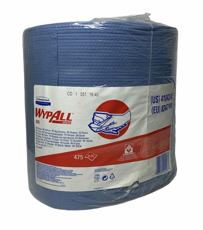 "Kimberly Clark Wypall X80 Cloths, 12.4"" x 13.4"", Blue, 475/Roll, 41043"